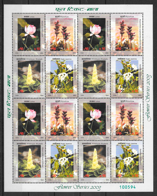 sellos flora Nepal 2003