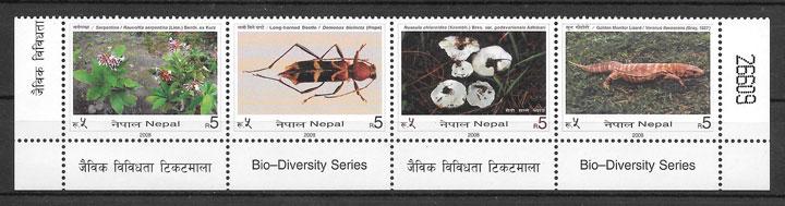 sellos fauna y flora Nepal 2008