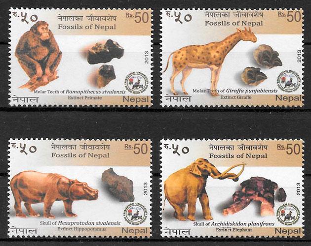 sellos animales prehistóricos Nepal 2013