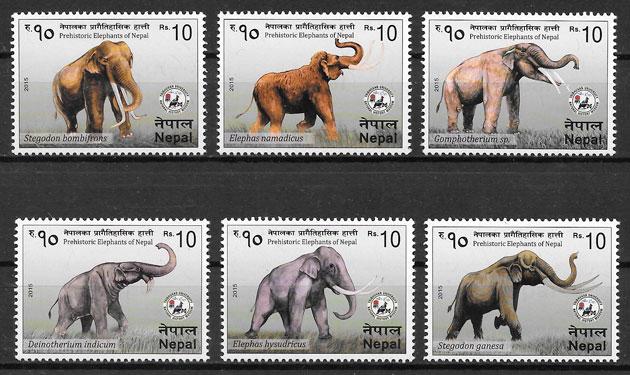sellos animales prehistóricos Nepal 2015