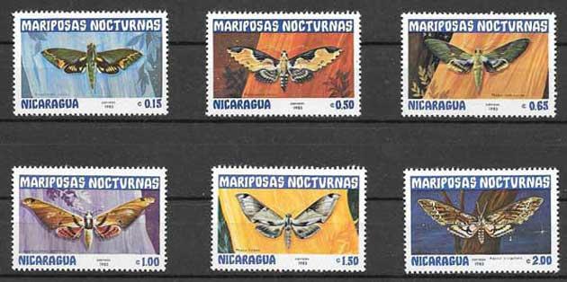 Sellos mariposas de Nicaragua 1983