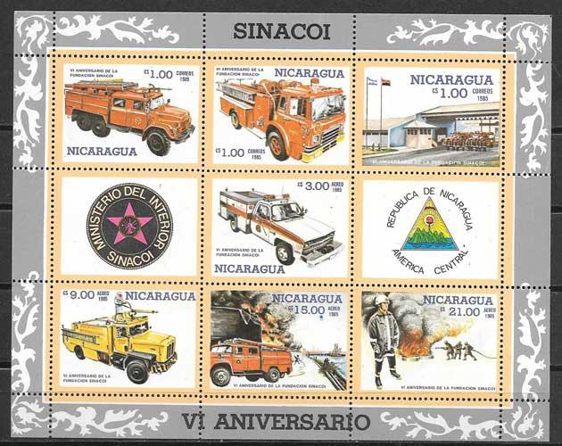 sellos colección bomberos Nicaragua 1985