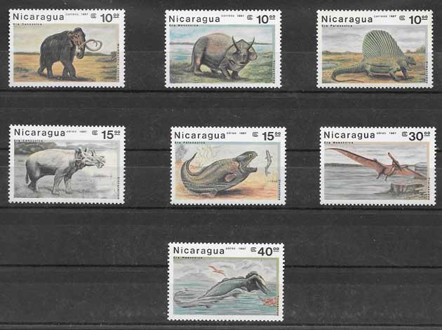 Sellos animales prehistórico Nicaragua 1987