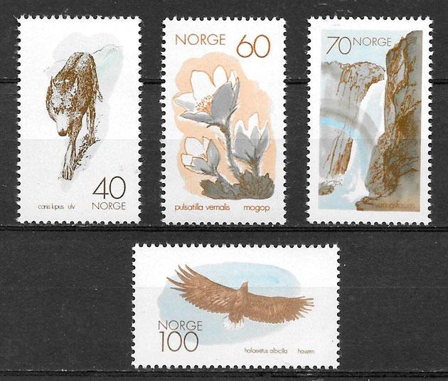 colección sellos fauna y flora Noruega 1970