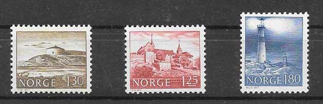 sellos faros Noruega 1977