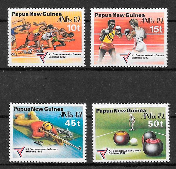 colección sellos Ppapua y Nueva Guinea 1982 deporte.