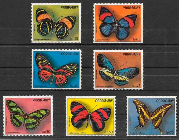 sellos mariposas Paraguay 1973
