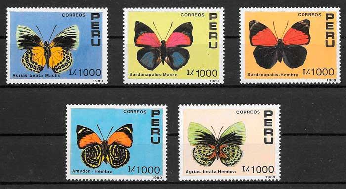sellos mariposas Perú 1990
