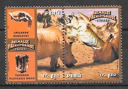 colección sellos dinosaurios Perú 2004