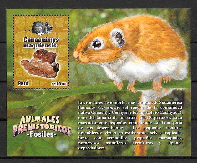 filatelia colección dinosaurios Perú