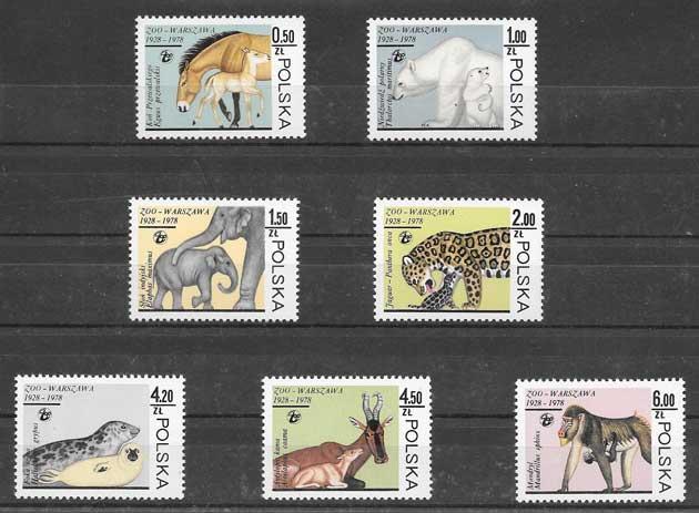 Colección sellos animales del zoo varsovia