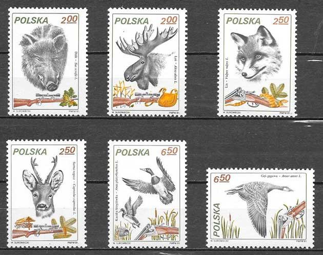 sellos fauna Polonia 1981
