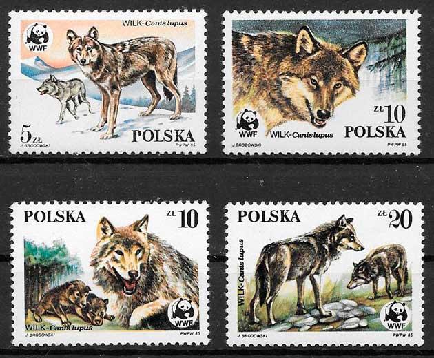 sellos fauna Polonia 1985