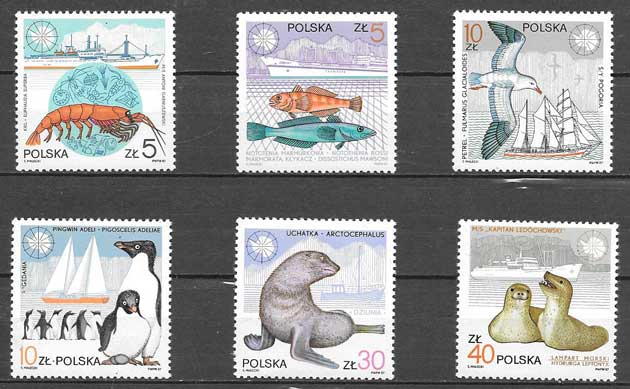 sellos fauna Polonia 1987