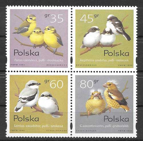 Filatelia fauna - aves diversas 1995