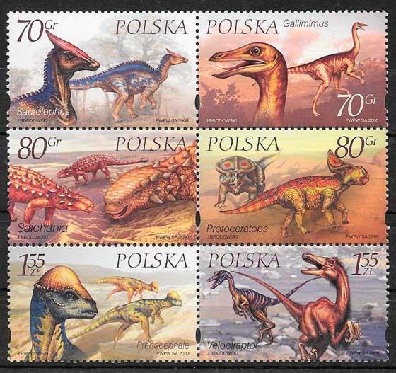 filatelia dinosaurios Polonia 2000
