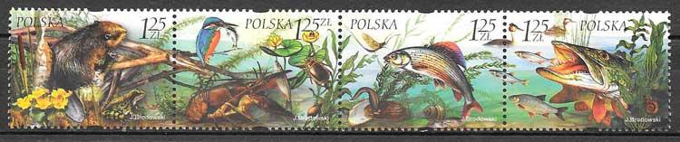 sellos filatelia fauna y flora Polonia 2004
