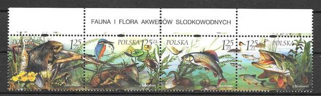 Sellos Filatelia fauna y flora de los lagos