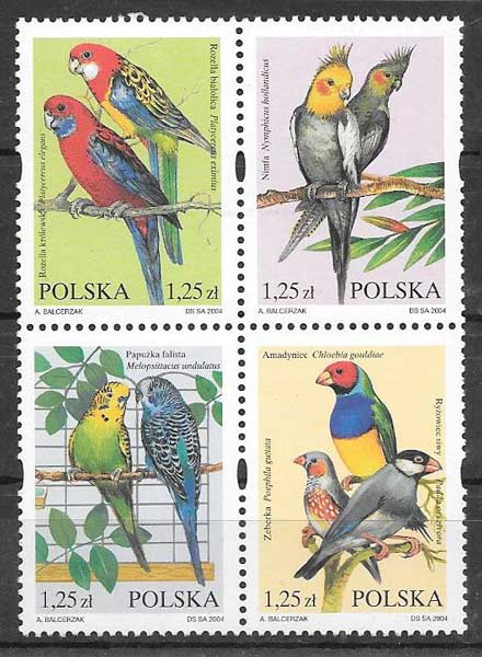 sellos aves Polonia 2004