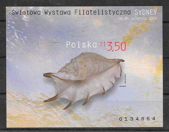 Sellos Filatelia fauna marina caracol