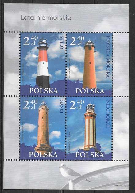 Colección sellos Polonia faros 2006