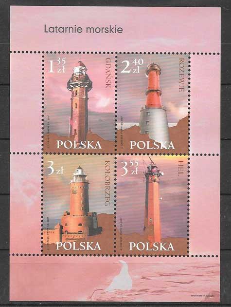 Colección sellos faros Polonia 2007