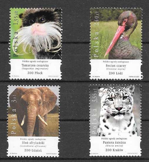 Colección sellos fauna de Polonia 2007