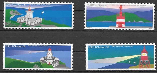 Colección sellos faros Portugal -azores 1996