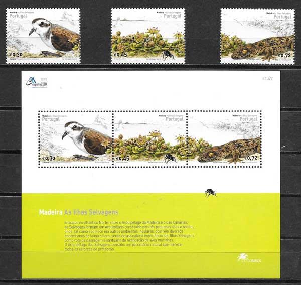 colección sellos fauna Portugal Madeira 2004