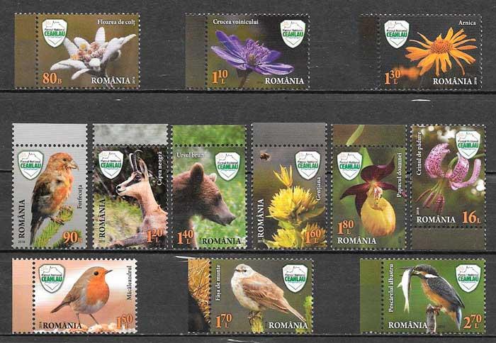 filatelia colección fauna y flora Rumanía 2016