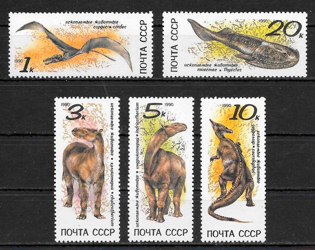 colección sellos dinosaurios 1990