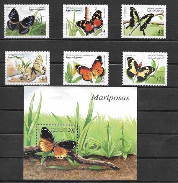 Colección sellos mariposas de Sahara 1999