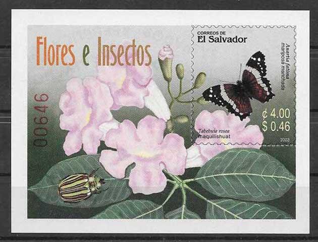 Filatelia sellos mariposas de El Salvador