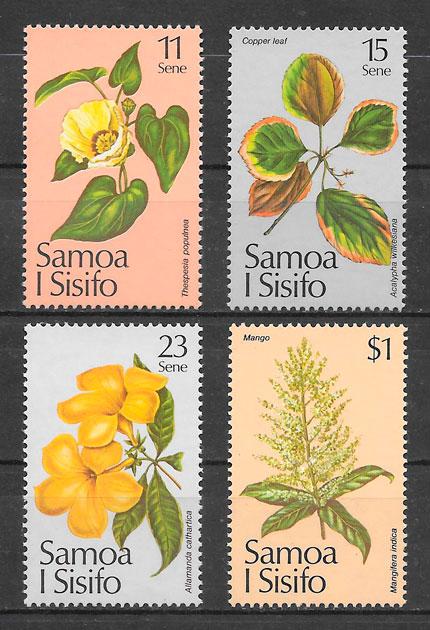 colección sellos flora Samoa 1981