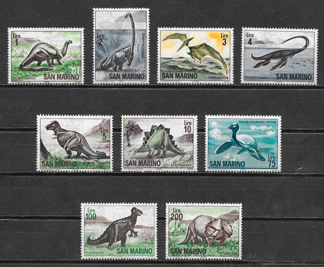 colección sellos dinosaurios San Marino 1965