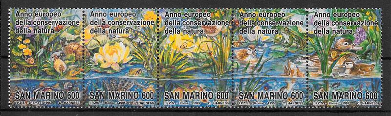 filatelia colección fauna y flora San Marino 1995