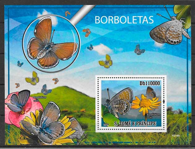 colección sellos mariposas Santo Tome y Príncipe 2009