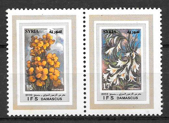 filatelia colección flora Siria 2002