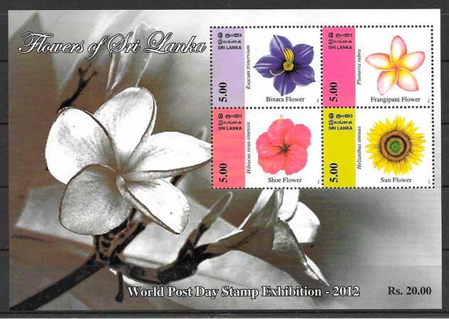 colección sellos flora Sri Lanka 2012