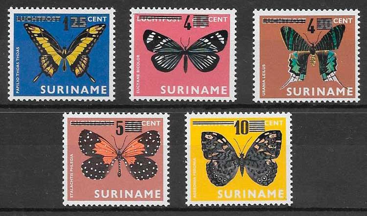colección sellos mariposas Surinam 1977