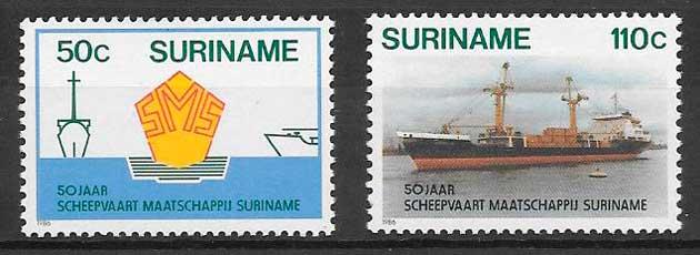 filatelia transporte Suriname 1986