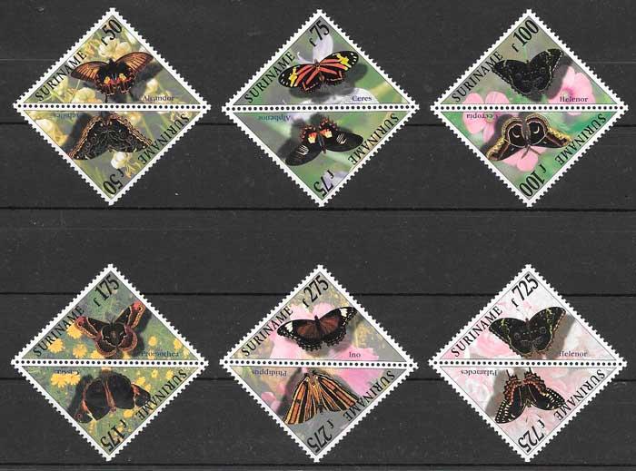 sellos mariposas Suriname 1997