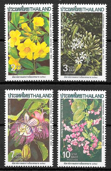 colección selos flora Tailandia 1985