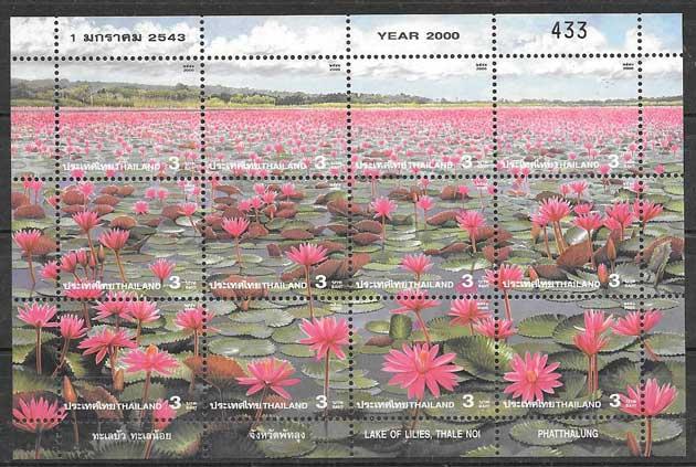 Sellos colección flora Tailandia 2000