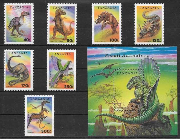 Sellos Filatelia animales prehistóricos Tanzania