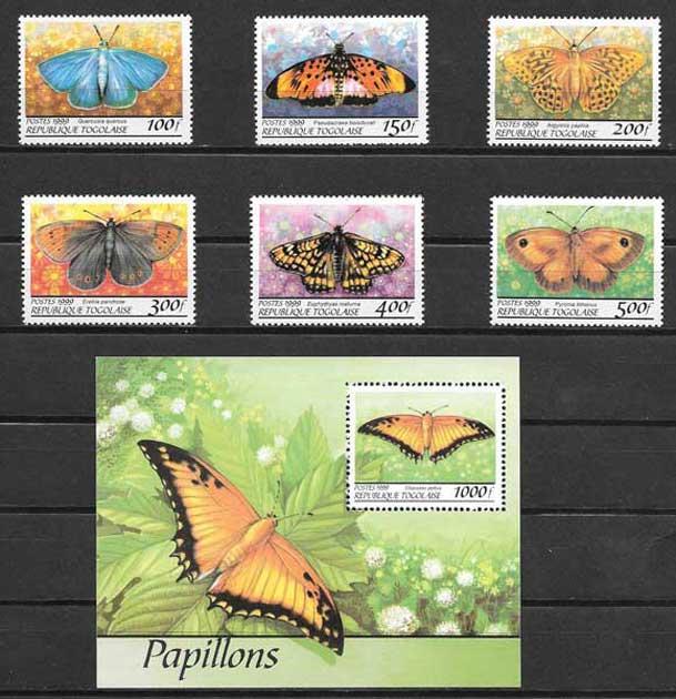 Sellos mariposas de Togo 1999