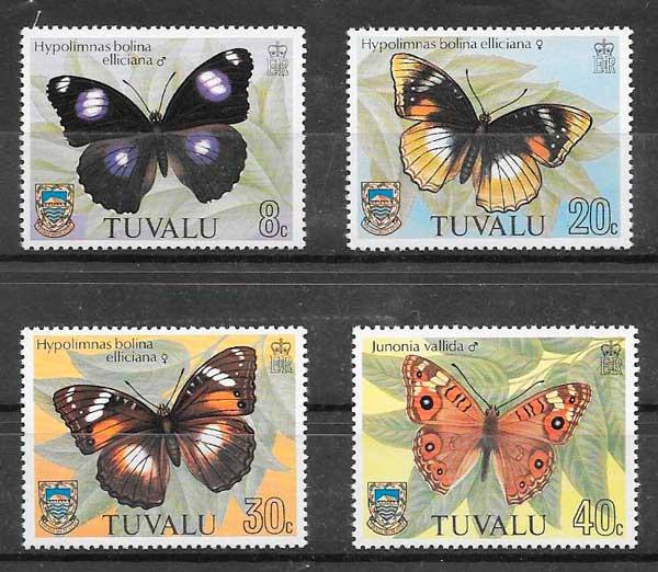 colección sellos mariposas Tuvalu 1981