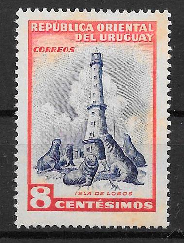 filatelia faros Uruguay 1954