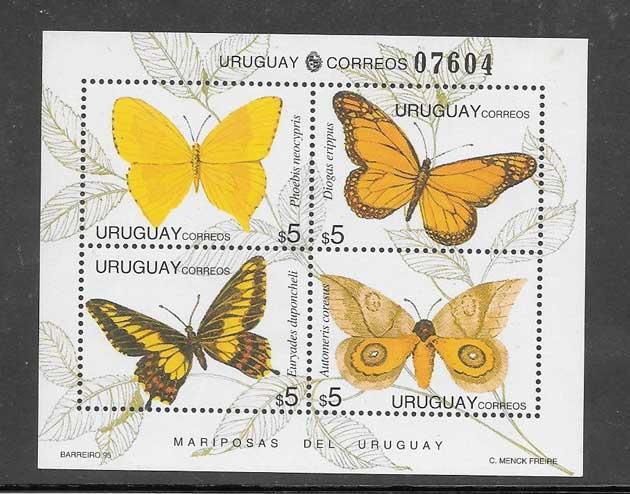 Filatelia sellos fauna - mariposas diversas del 1995