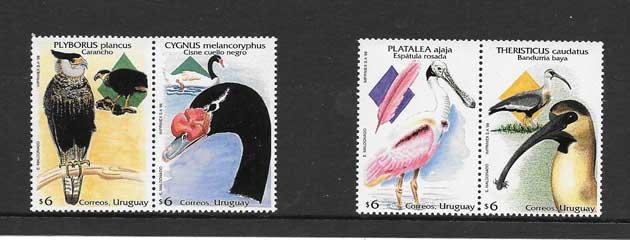Sellos Filatelia fauna - aves Uruguay 1998